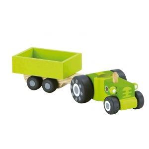 Trudi Sevi Tracteur avec remorque en bois