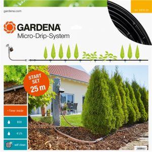 Gardena 13012-20 - Kit d'irrigation 25m Micro-Drip system pour les haies + programmateur