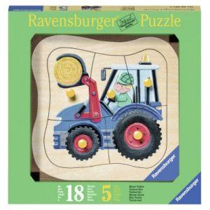 Ravensburger Encastrement en bois : Tracteur (5 pièces)