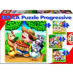 Educa Puzzle progressif - Les animaux de la ferme 6, 9, 12 et 16 pièces