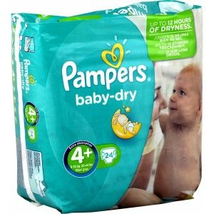 Pampers Baby Dry taille 4+ Maxi+ 9-20 kg - 24 couches
