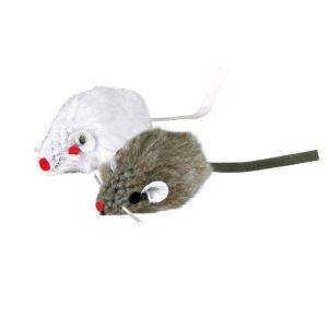 Trixie 2 souris en fourrure blanche et grise avec menthe à chat (5 cm)