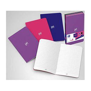 Oxford Pocket Notes agrafé - couverture carte - 9 x 14 cm - 48 pages - ligné 6 mm - assortis mixte - lot de 4
