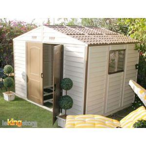 Duramax DUWS108PR - Abri de jardin Woodstyle en PVC 7,68 m2 + kit fenêtre et kit fondation