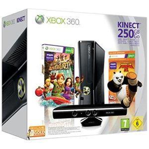 Microsoft XBox 360 Slim 250 Go Pack Kinect Adventures + Kung Fu Panda 2 : La console + le capteur + les 2 jeux