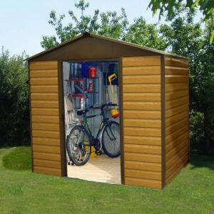 Yardmaster 108WGL - Abri de jardin en métal aspect bois 6,44 m2