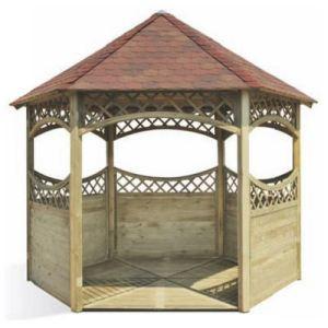 Jardipolys Kiosque de jardin avec toiture bardeau Ø340 x 300 cm