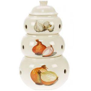 Revimport 3 pots en pyramide pour ail / oignons et échalotes