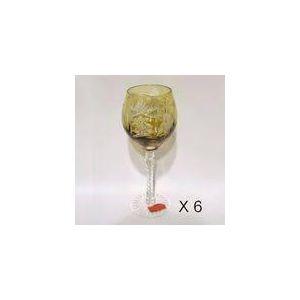 Cristal de paris 6 verres à vin Tonneau motif étoile en cristal taillé