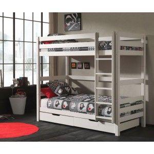 Vipack Furniture Lit Pino superposé haut avec tiroirs pour enfant