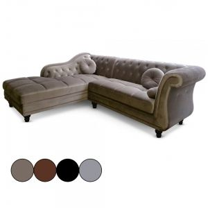 Brittish - Canapé d'angle style Chesterfield en velours