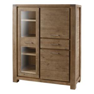 Inwood Armoire 1 porte vitrée, 2 portes et 1 tiroir en acacia