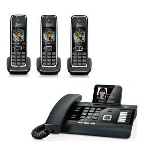 Gigaset DL500A Quatro - Téléphone filaire répondeur avec 3 combinés C530H