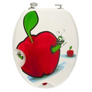 Frandis Abattant WC en mdf Pomme et Chenilles