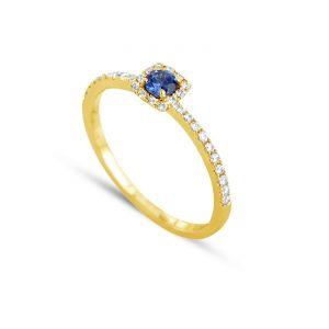 3612030190124 - Bague en or ornée de diamants et de saphir