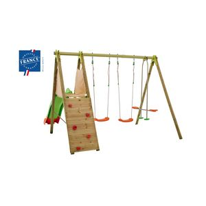 Amca Techwood TE703 - Portique 5 agrès en bois et métal 2,30 m