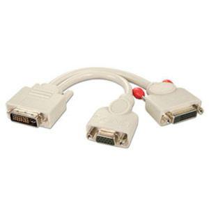 Lindy 41048 - Câble splitter DVI-I mâle vers DVI-D et VGA femelles