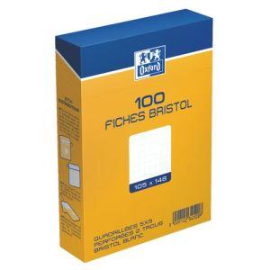 Oxford Boîte de 100 fiches bristol 224 g 5x5 non perforées (A6)