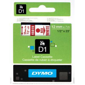 Dymo 45015 - Ruban pour étiqueteuse D1 rouge sur blanc 12 mm x 7 m