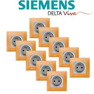 Siemens LOT 10 Prise 2P+T Silver Delta Viva + Plaque Orange