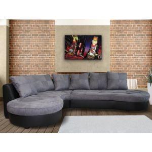 Canapé d'angle gauche Stéphane en tissu et simili cuir