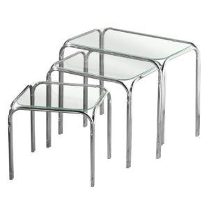 Premier housewares 3 tables gigognes avec plateau en verre pieds chromés