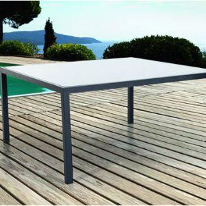 Hesperide table de jardin carr e montezalo en aluminium et plateau en verre 1 - Table de jardin carree aluminium ...