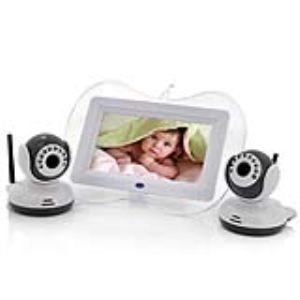 """High-Tech Place BNE2CVNDV01 - Babyphone visiophone numérique écran 7"""" avec 2 caméras"""