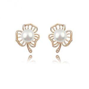 Blue Pearls Bps B305 W - Boucles d'oreilles Fleur en perle, Cristal et plaqué or