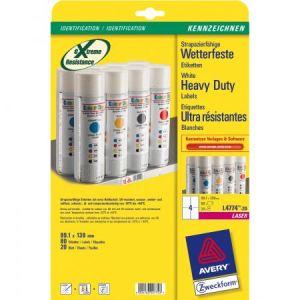 Avery-Zweckform 80 étiquettes ultra-résistantes laser blanches 99,1 x 139 mm