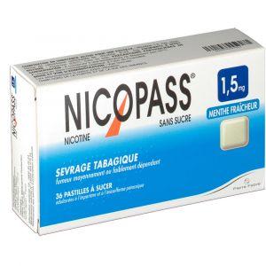 Pierre Fabre Nicopass Menthe fraicheur s/s 1,5 mg - 36 Pastilles