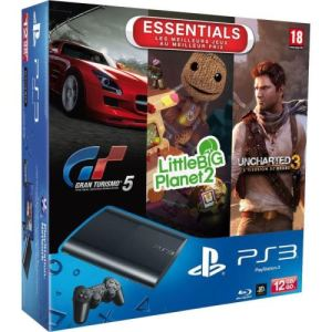 Sony PS3 Ultra Slim 12 Go + Gran Turismo 5 + Uncharted 3 + Little Big Planet