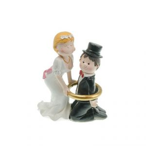 Chaks 80174 - Figurine en résine Couple de mariés avec homme encerclé (15 cm)