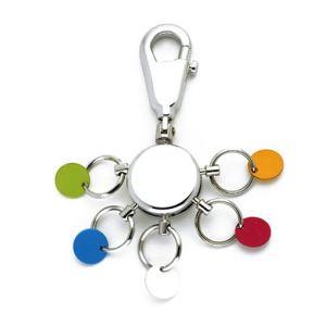 Troika Porte-clés Patent design rond et coloré 5 anneaux interchargeables
