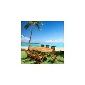 Table de jardin en teck huilé avec 8 chaises pliantes