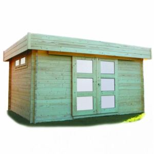 Solid S8994 - Abri de jardin Viborg en bois 40 mm avec toit plat 11,89 m2