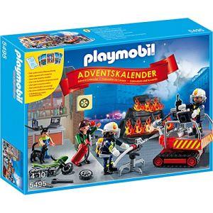 Playmobil 5495 - Calendrier de l'avent Sapeurs-pompiers avec jeu de cartes