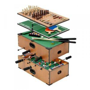 Cadeau Maestro Jeux de table 5 en 1 : billard, baby-foot, ping-pong, échecs et backgammon