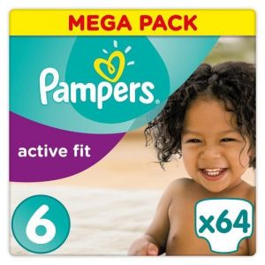 Pampers Active Fit taille 6 (15 kg +) - Mega Pack 64 couches