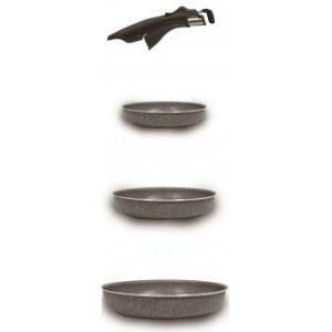 Bialetti OPSSET02 - 3 poêles et poignée clipsable Pratika Stone