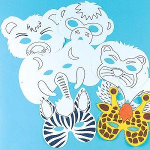 Baker Ross 8 masques à colorier motif animal