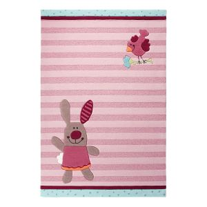 Unamourdetapis Tapis enfant Happy Friends Stripes en acrylique (140 x 200 cm)