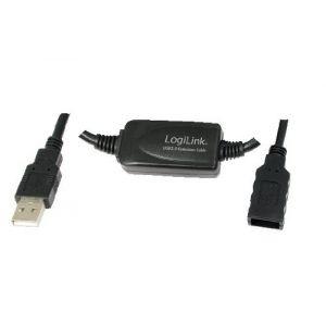 Logilink UA0143 - Câble USB 2.0 avec répéteur 10 m Noir