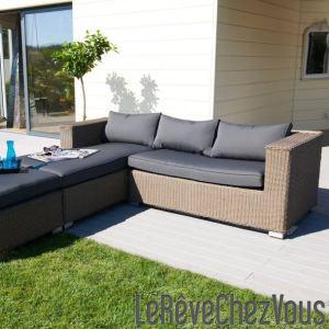 DCB Garden Salon de jardin en résine tressée (canapé avec repose pied)