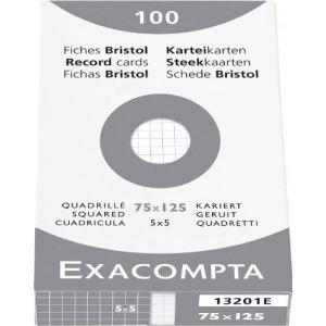 Exacompta 13201E - Etui 100 Fiches bristol ( 75x125mm)