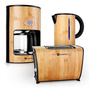 Klarstein Bamboo Garden - Set petit déjeuner : bouilloire + machine à café + grille pain