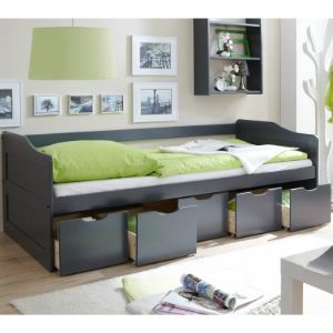 TICAA Canapé-lit à tiroirs Maria en pin massif (90 x 200 cm)