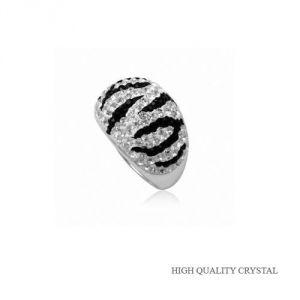 Blue Pearls Cry 8414 T - Bague Dome Zèbre en Cristal Pur noir et blanc et argent 925°