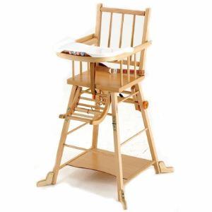 Combelle Chaise haute transformable vernis (dossier à barreaux)