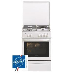 Brandt KMP1010W - Cuisinière mixte 3 brûleurs et four électrique
